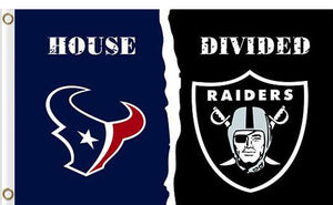Houston Texans vs Oakland Raiders Divided Flag