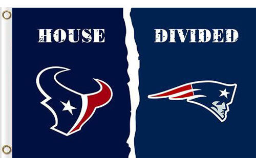 Houston Texans vs New England Patriots Divided Flag