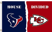 Load image into Gallery viewer, Houston Texans vs Kansas City Cheifs Divided Flag