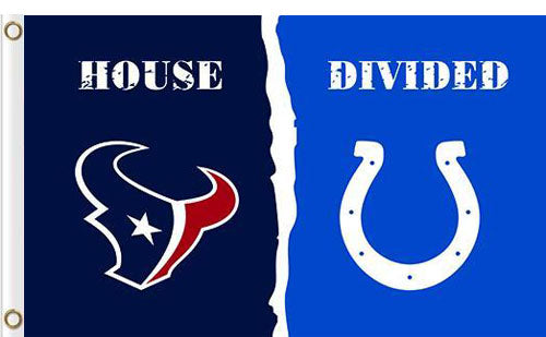 Houston Texans vs Indianapolis Colts Divided Flag