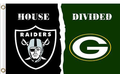 Oakland Raiders vs Green Bay Packers Divided Flag