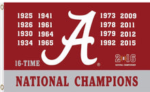 Load image into Gallery viewer, Alabama Crimson champions flag banner 3ftx5ft