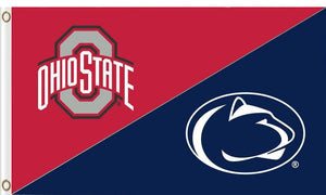 The Ohio State University and Penn State Divided Flag 3ftx5ft