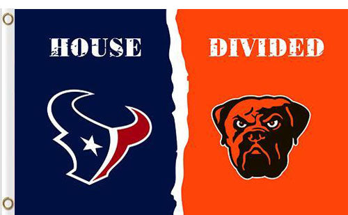 Houston Texans vs Cleveland Browns Divided Flag