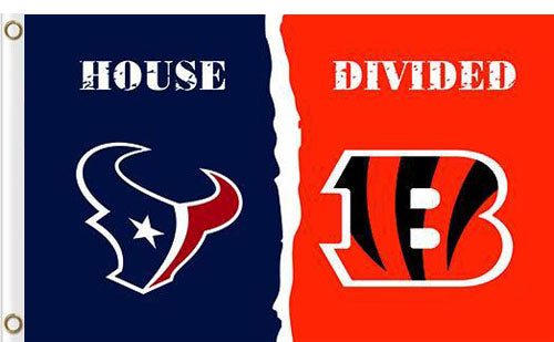 Houston Texans vs Cincinnati Bengals Divided Flag
