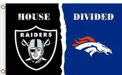 Oakland Raiders vs Denver Broncos Divided Flag