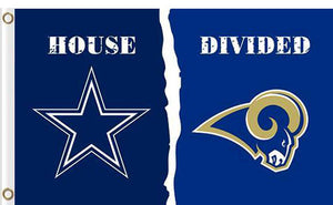 Dallas Cowboys vs Los Angeles Rams Divided Flag