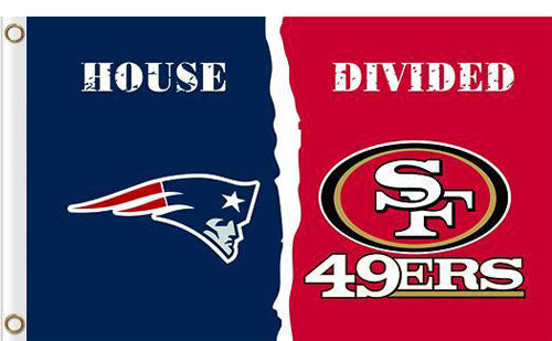 New England Patriots vs San Francisco 49ers Divided Flag