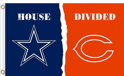 Dallas Cowboys vs Chicago Bears 2 Divided Flag