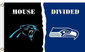 Carolina Panthers vs Seattle Seahawks Divided Flag
