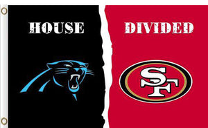 Carolina Panthers vs San Francisco 49ers 2 Divided Flag