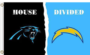 Carolina Panthers vs San Diego Chargers Divided Flag