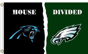 Carolina Panthers vs Philadelphia Eagles Divided Flag