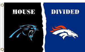 Carolina Panthers vs Denver Broncos Divided Flag