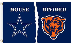 Dallas Cowboys vs Chicago Bears Divided Flag