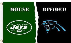 Carolina Panthers vs New York Jets Divided Flag