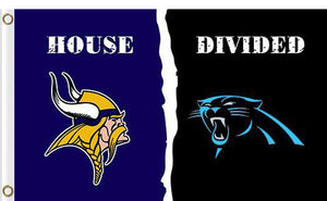 Carolina Panthers vs Minnesota Vikings Divided Flag