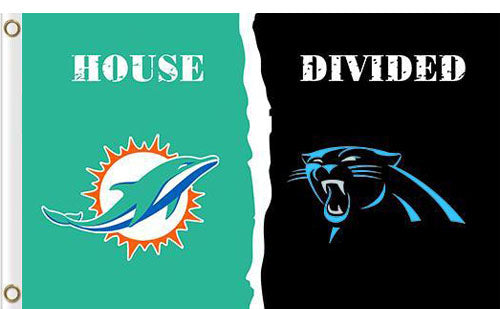 Carolina Panthers vs Miami Dolphins Divided Flag