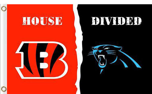 Carolina Panthers vs Cincinnati Bengals Divided Flag