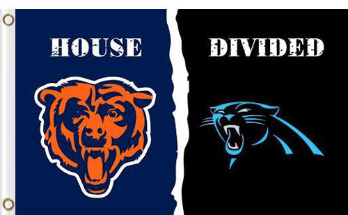 Carolina Panthers vs Chicago Bears Divided Flag