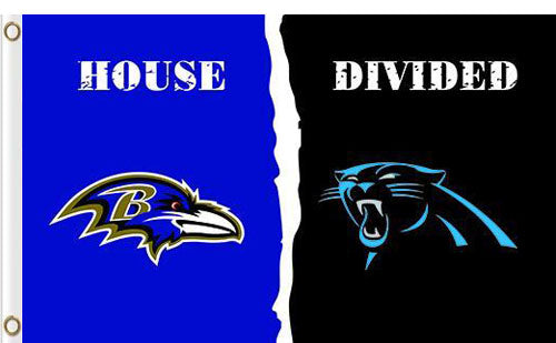 Carolina Panthers vs Baltimore Ravens Divided Flag