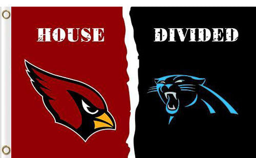 Carolina Panthers vs Arizona Cardinals Divided Flag