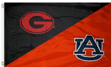 Georgia & Auburn Divided Flag 3ftx5ft