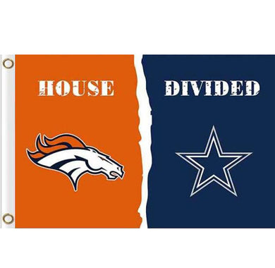 Denver Broncos vs Dallas Cowboys House divided flag 3ftx5ft