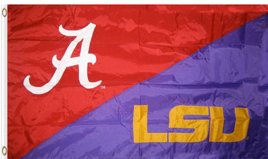 Alabama & LSU House Divided Flag 3ftx5ft