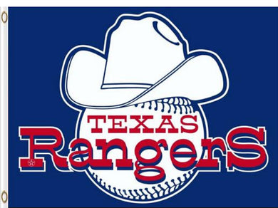 Texas Rangers Cowboy Hat and Baseball Banner Flag 3x5ft