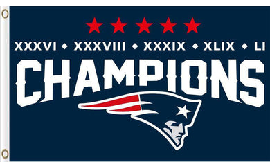 New England Patriots 5X Champion Flags 3ftx5ft