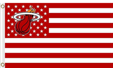 Miami Heat logo and star-spangled flags 90x150cm