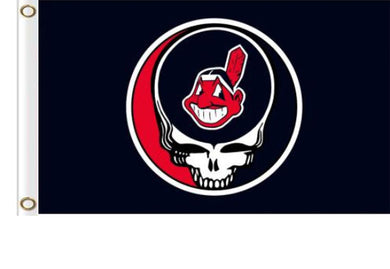 Cleveland Indians Dead Skull Black flags 3ftx5ft
