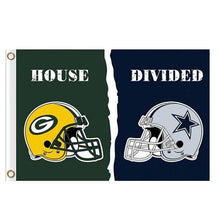 Load image into Gallery viewer, Green Bay Packers Dallas Cowboys House Divided Flag 3x5FT