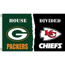Load image into Gallery viewer, Green Bay Packers VS Kansas City Cheifs House Divided flags 3ftx5ft