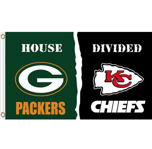Green Bay Packers VS Kansas City Cheifs House Divided flags 3ftx5ft