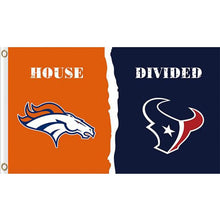 Load image into Gallery viewer, Denver Broncos vs Houston Texans House divided flag 3ftx5ft