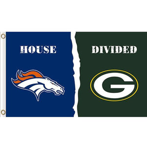 Denver Broncos vs Green Bay Packers House divided flag 3ftx5ft