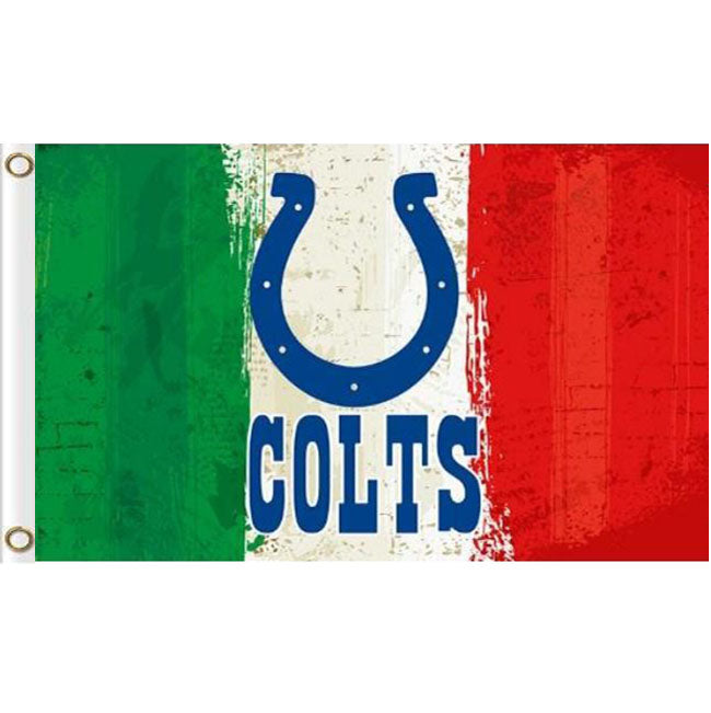 Green white red Stripes Indianapolis Colts flags 3ftx5ft
