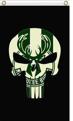 Milwaukee Bucks skull flags 90x150cm