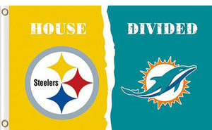 Pittsburgh Steelers vs Miami Dolphins Divided Flag