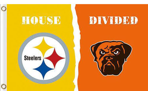 Pittsburgh Steelers vs Cleveland Browns Divided Flag