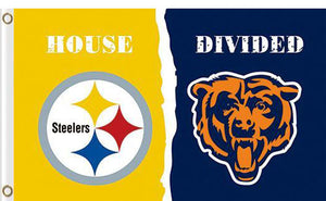 Pittsburgh Steelers vs Chicago Bears Divided Flag