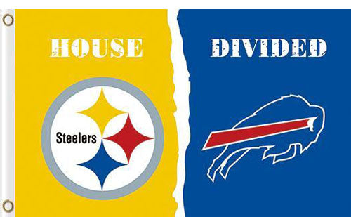 Pittsburgh Steelers vs Buffalo Bills Divided Flag