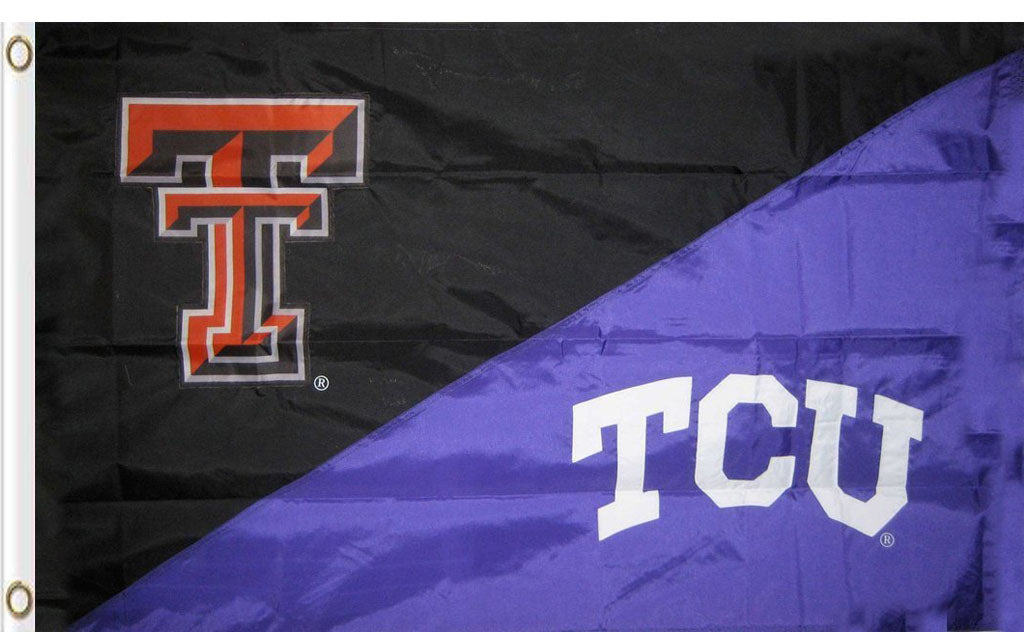 Texas Tech & TCU House Divided Flag 3ftx5ft