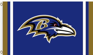 Baltimore Ravens Logo Two Strip Flags 3ftx5ft