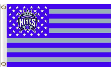 Sacramento Kings logo and star-spangled flags 90x150cm