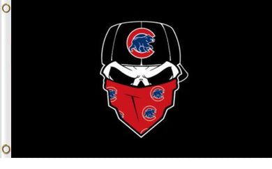 Chicago Cubs Skull Bandana Banner flag 3ftx5ft