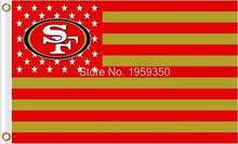 Load image into Gallery viewer, San Francisco 49ers Flag with Star and Stripe 3ftx5ft