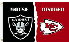 Load image into Gallery viewer, Oakland Raiders vs Kansas City Cheifs Divided Flag